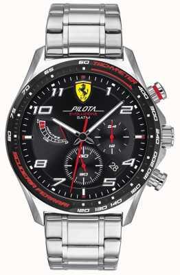 Scuderia Ferrari   pilota evo pour hommes   bracelet en acier inoxydable   cadran noir 0830720