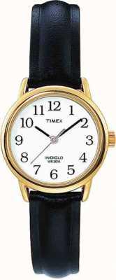 Timex Boîtier plaqué or avec bracelet en cuir noir Easy Reader T20433
