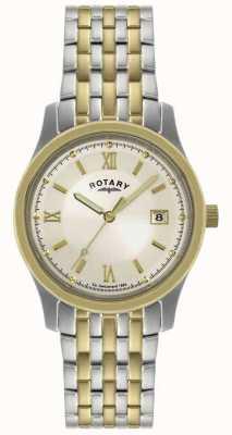 Rotary Gents deux tons montre bracelet en acier GBI0793/09