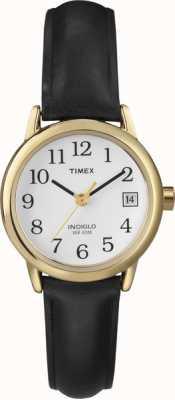 Timex Blanc noir montre-bracelet en cuir de dames T2H341