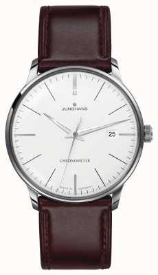 Junghans Bracelet en cuir marron chronomètre Meister pour homme 027/4130.00