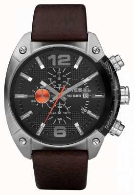Diesel Hommes chronographe noir cadran rond bracelet en cuir brun DZ4204