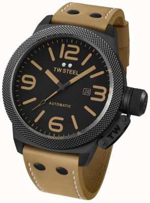 TW Steel Cantine automatique 50mm bracelet en cuir brun Montre Gent TWA203