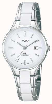 Pulsar Acier inoxydable et en céramique blanc des dames, montre à cadran blanc PH7267X1