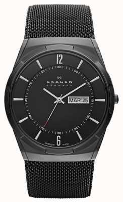 Skagen Mens aktiv titane noir cadran noir montre ionique plaqué SKW6006