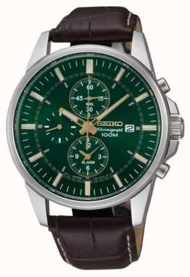 Seiko Mens en acier inoxydable alarme cuir vert cadran brun chrono SNAF09P1