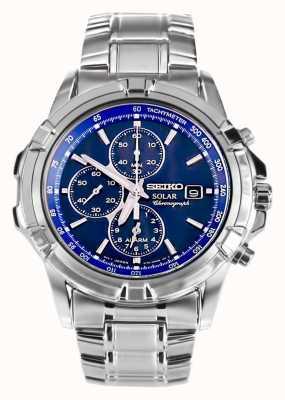 Seiko Mens en acier inoxydable énergie solaire cadran bleu chronographe SSC141P1