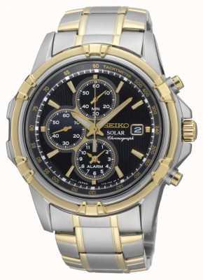 Seiko Mens deux tons cadran noir chronographe énergie solaire SSC142P1