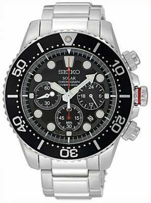 Seiko Mens en acier inoxydable lunette noire et cadran chronographe SSC015P1