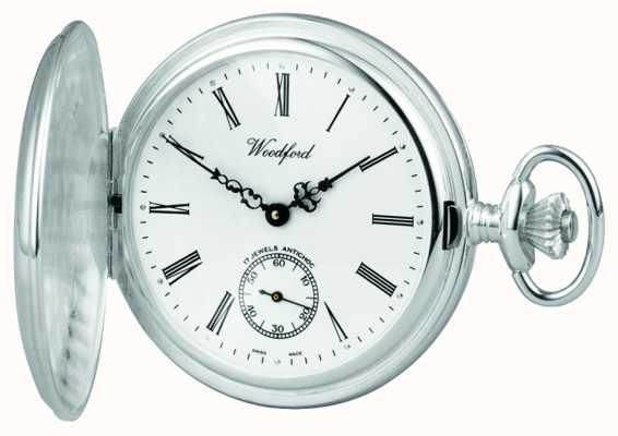 Woodford En acier inoxydable, cadran blanc, boîtier plein de chasseur, montre de poche 1001