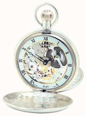 Woodford Pockwatch argenté à double couvercle avec chaîne Albert 1065