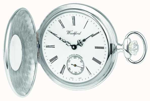 Woodford Argent sterling, boîtier ouvert, cadran blanc, montre de poche mécanique 1068
