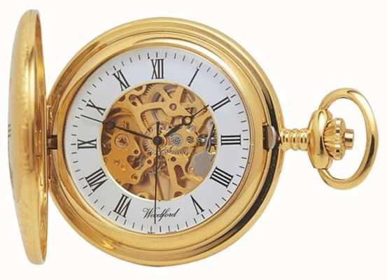 Woodford | demi chasseur | plaqué or | squelette | montre de poche | 1021