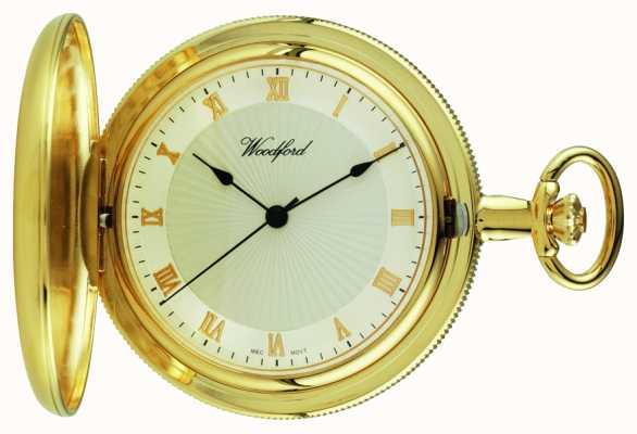 Woodford plaque d'or, chasseur, montre de poche à cadran blanc plein 1053