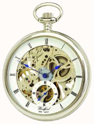 Woodford Chrome, cadran squelette blanc, montre de poche mécanique 1043