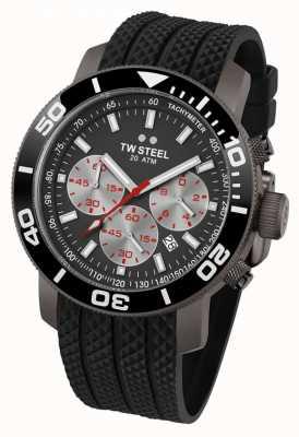 TW Steel Cadran gris homme lunette noire bracelet en caoutchouc chrono TW705