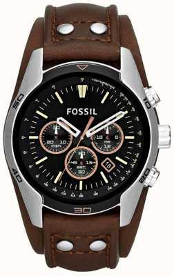 Fossil Hommes cocher cadran noir brun manchette en cuir montre bracelet CH2891