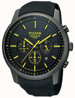 Pulsar Mens noir ion plaqué détail jaune montre bracelet en caoutchouc PT3193X1