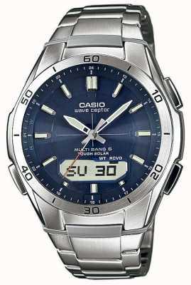 Casio Mens wave ceptor cadran bleu montre en acier inoxydable WVA-M640D-2AER