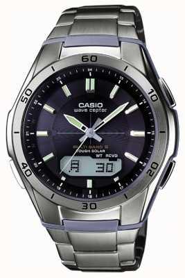 Casio Mens wave ceptor cadran noir montre en titane WVA-M640TD-1AER