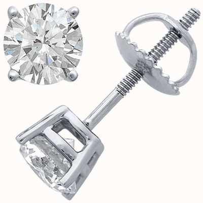Certified Diamond Boucles d'oreilles, quatre griffes 1.00ct h si, vis raccords de retour C100PT-4CLAW-HSI