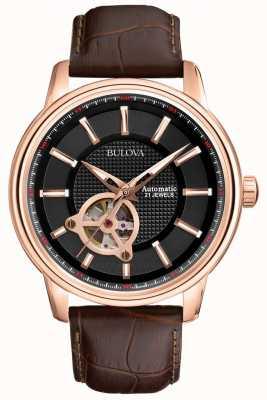 Bulova Mens automatique en or rose brun montre bracelet en cuir 97A109