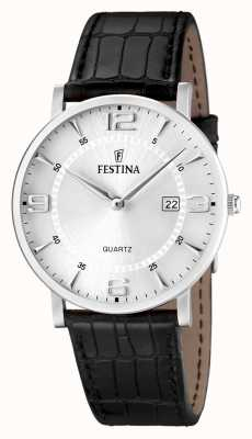 Festina Mens en acier inoxydable cuir noir montre bracelet F16476/3