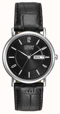 Citizen Gents Bracelet en cuir noir Eco-Drive BM8240-03E