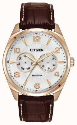 Citizen Mens rose cadran champagne or cuir marron montre bracelet AO9023-01A