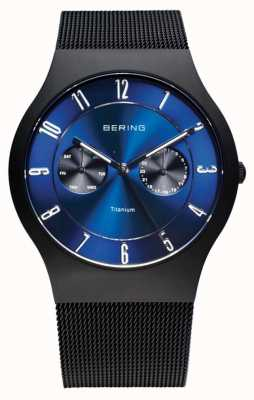 Bering Hommes titane noir cadran bleu montre 11939-078
