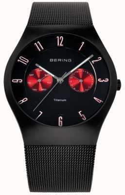 Bering Hommes titane noir rouge maille accent montre bracelet 11939-229