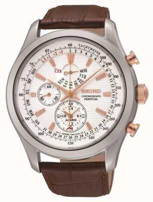 Seiko Mens en acier inoxydable cadran blanc montre en cuir marron SPC129P1