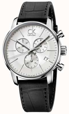 Calvin Klein Mens en acier inoxydable et noir cadran argenté ville chronographe K2G271C6