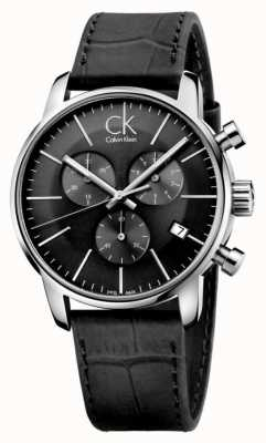 Calvin Klein Mens en acier noir et inox montre bracelet en cuir K2G271C3