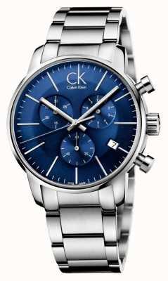 Calvin Klein Mens en acier inoxydable cadran bleu ville chronographe K2G2714N