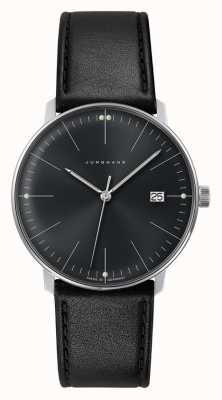 Junghans Montre en cuir noir à cadran noir à quartz Max Bill pour homme 041/4465.04
