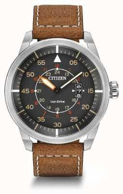 Citizen | hommes eco-drive avion wr100 | bracelet en cuir marron | AW1361-10H