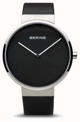 Bering Classique femme, cadran noir, acier, cuir 14539-402