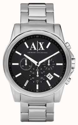 Armani Exchange Mens smart chronographe en acier inoxydable cadran noir AX2084