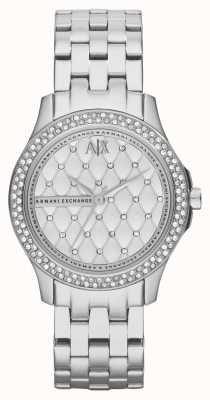 Armani Exchange Womens intelligente en acier inoxydable bracelet en cristal ensemble AX5215