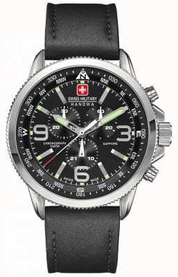 Swiss Military Hanowa Mens en acier inoxydable, cadran noir, chronographe en cuir noir 6-4224.04.007