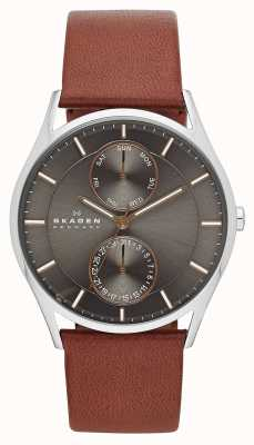 Skagen Mens holst cuir marron bracelet de montre SKW6086