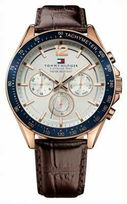 Tommy Hilfiger Montre homme en cuir marron rose luke 1791118