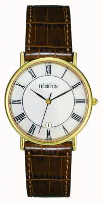 Michel Herbelin Mens montre plaqué or PVD, cuir brun 12443/P08GO