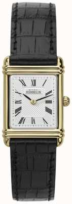 Michel Herbelin Mesdames plaqué or, cadran romaine bracelet en cuir 17478/P08