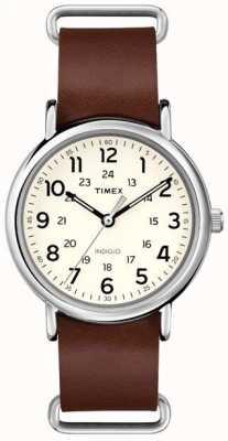 Timex Originals Weekender bracelet en cuir brun T2P495