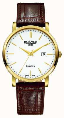 Roamer Ligne classique | bracelet en cuir marron | cadran blanc 709856 48 25 07