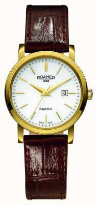 Roamer Ligne classique | bracelet en cuir marron | cadran blanc 709844 48 25 07