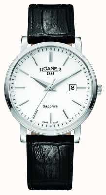 Roamer Ligne classique | bracelet en cuir noir | cadran blanc 709856 41 25 07