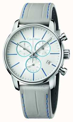Calvin Klein Mens ville chronographe bracelet en cuir gris K2G271Q4